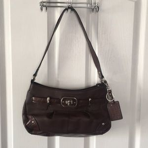Etienne Aigner Brown Purse with crocodile accents